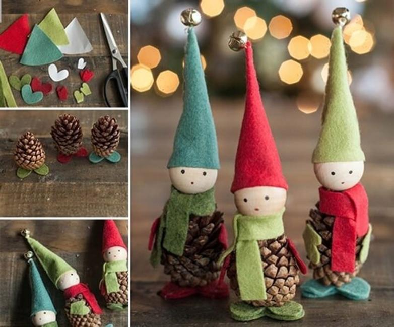 Adornos de navidad de duendes hechos con piñas