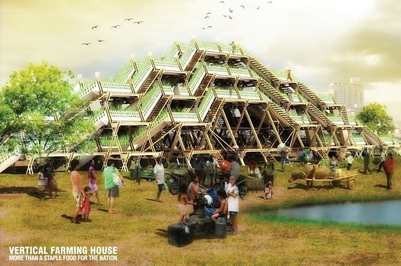 Huertos verticales de bambú