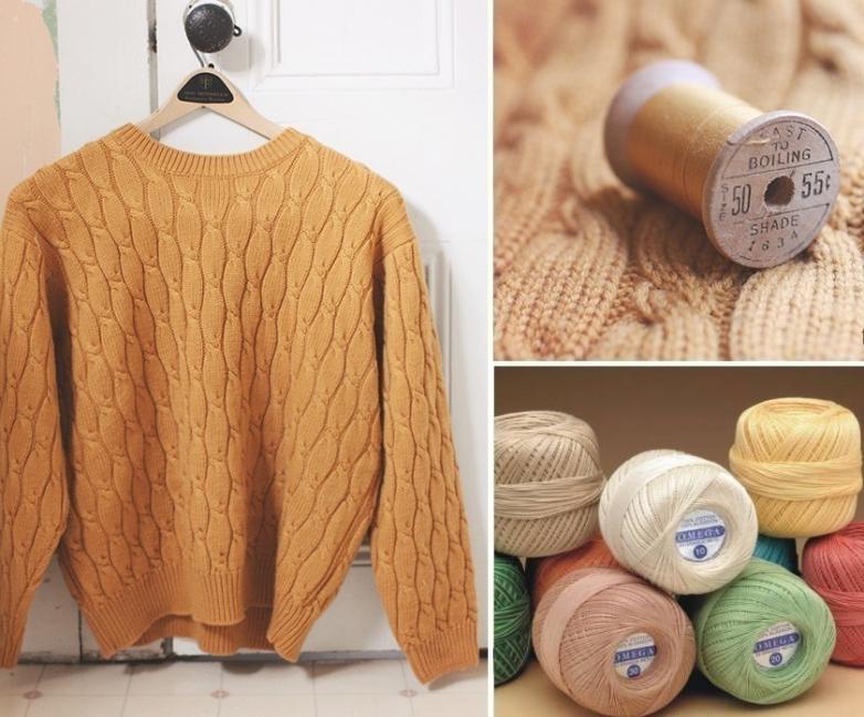 suéter viejo en un cómodo puff -materiales