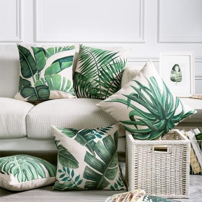 Cómo decorar con estilo tropical- almohadas