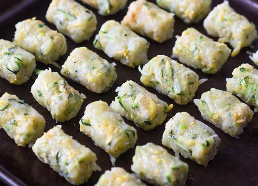 Paquetitos crocantes de zucchini, patata y queso- hornear