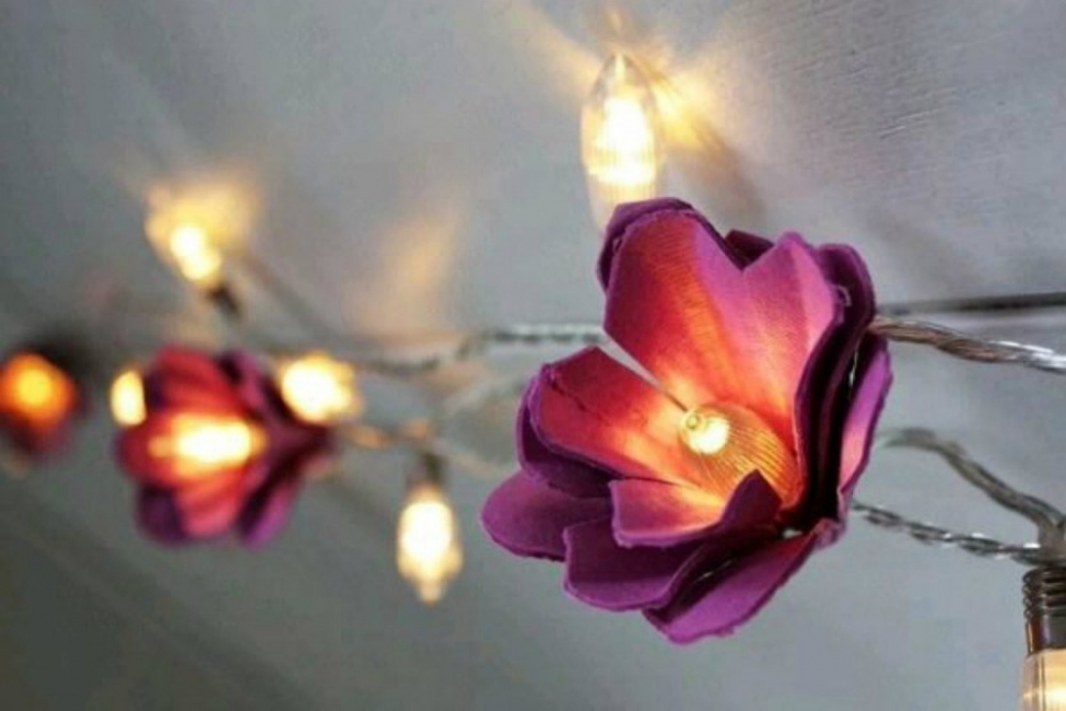 Decorar con luces en cadena - flores