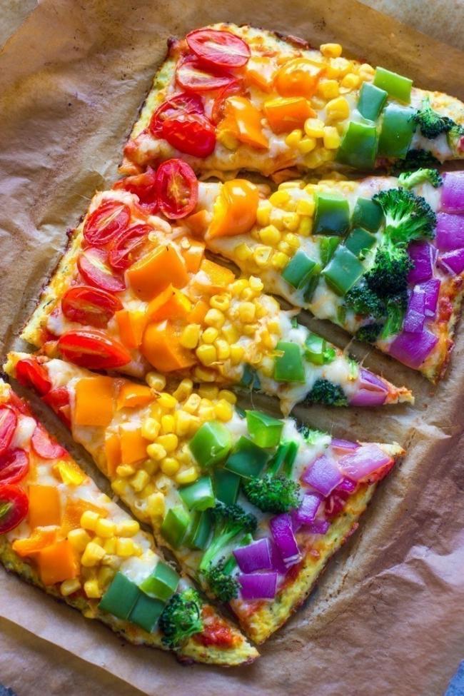 pizza arco iris terminada