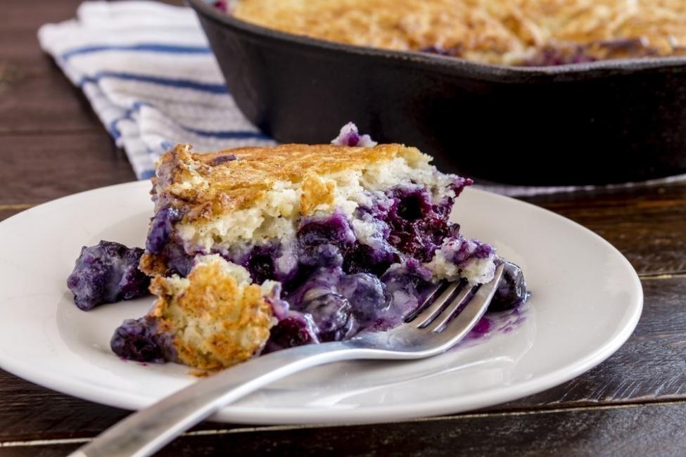 Torta de arándanos y limón, ¡a la sartén!- porción