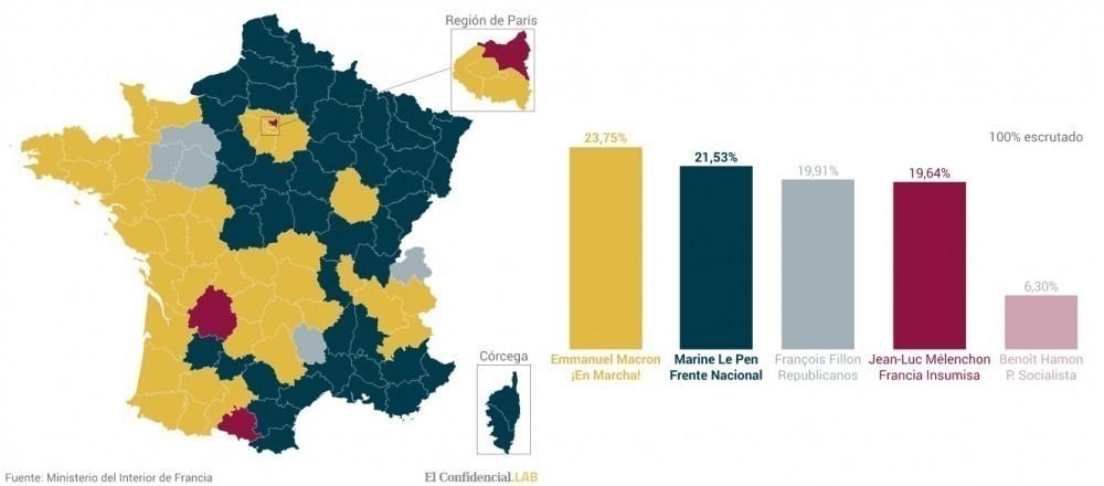 mapa elecciones en Francia