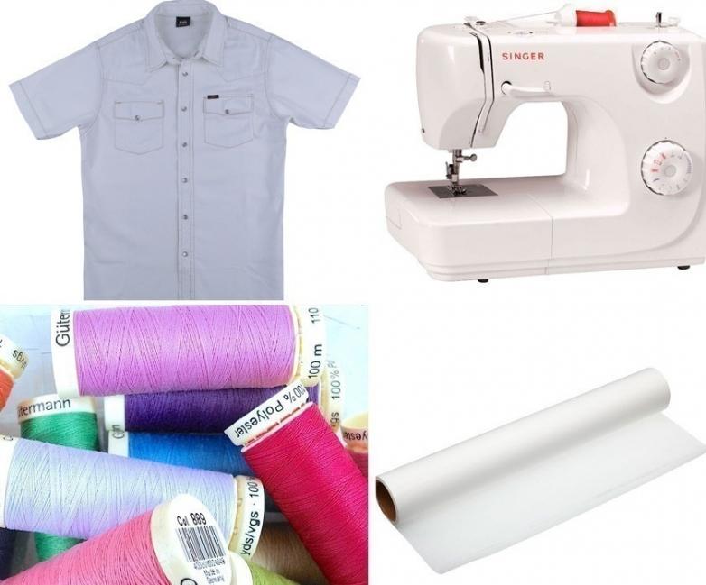 convertir una vieja camisa en un vestido de niña- materiales