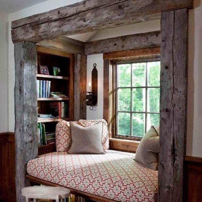 rincones en la ventana- enmarcado de madera