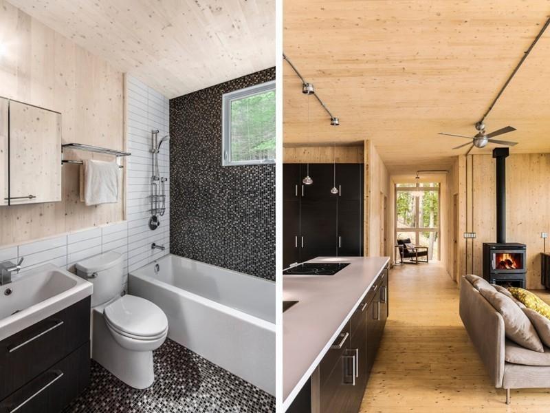 Casa reciclada de paneles de madera- baño y cocina