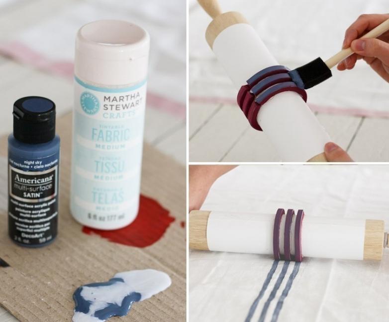 estampar una tela con un rodillo o palote de cocina- pintar