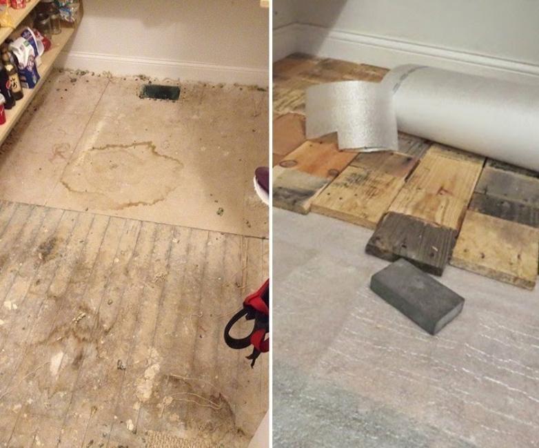 piso parquet casero reutilizando maderas - cubrir con el aislante