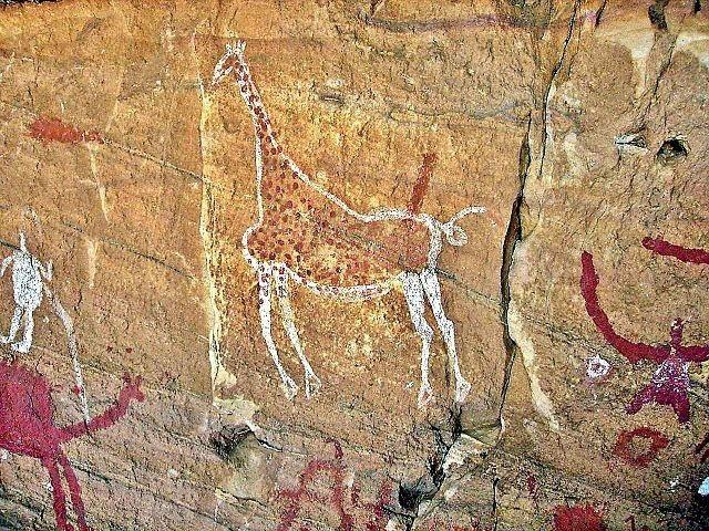 pintura rupestre de jirafa