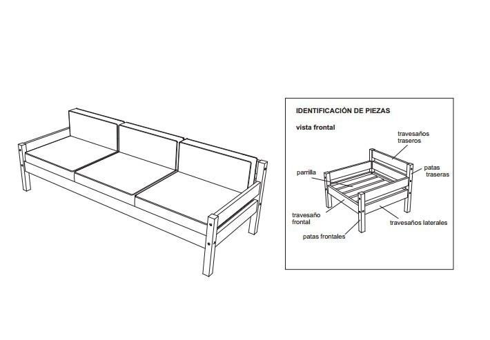 sillon de tres cuerpos - esquema- construir- planos