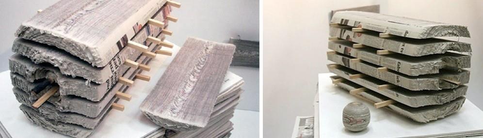 papel de diario- madera