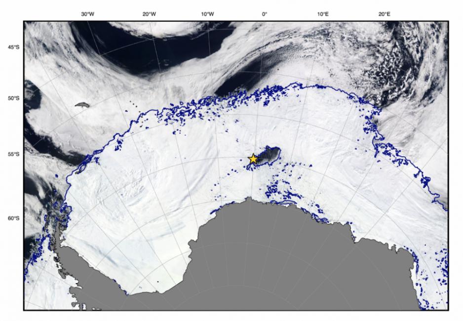 Una polinia es un espacio abierto de agua rodeado de hielo marino