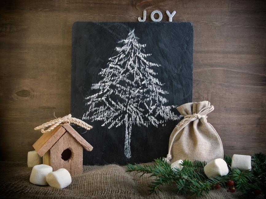 Árboles de Navidad para espacios pequeños - pizarra