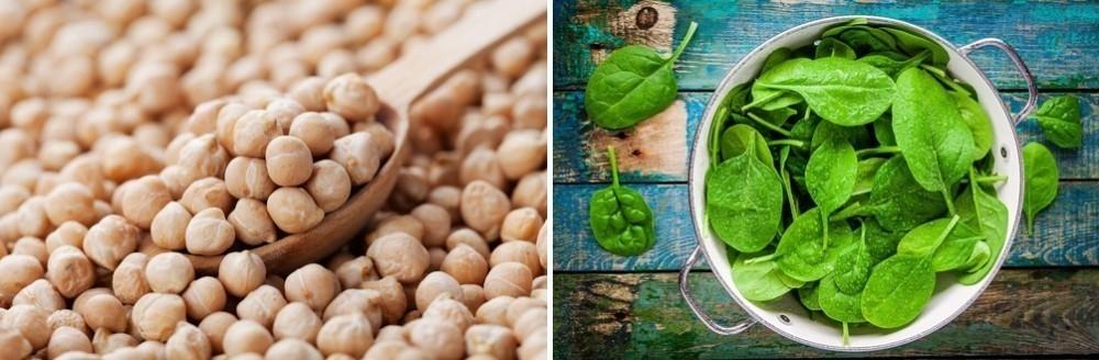 garbanzos y espinacas- ingredientes canelones veganos sin tacc