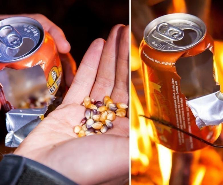palomitas de maíz con una lata - calentar