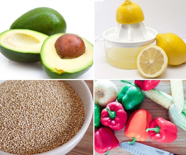 Pimientos rellenos de quinoa y aguacate - ingredientes