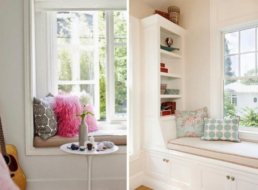 rincones en la ventana-sillón con almohadas