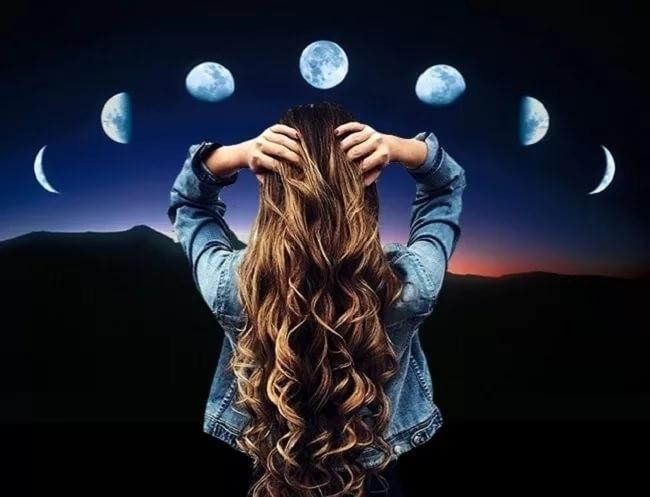 Luna llena en el corte de pelo