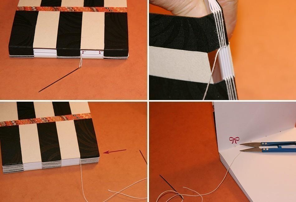 Cómo hacer un cuaderno con costura de ojal- terminar