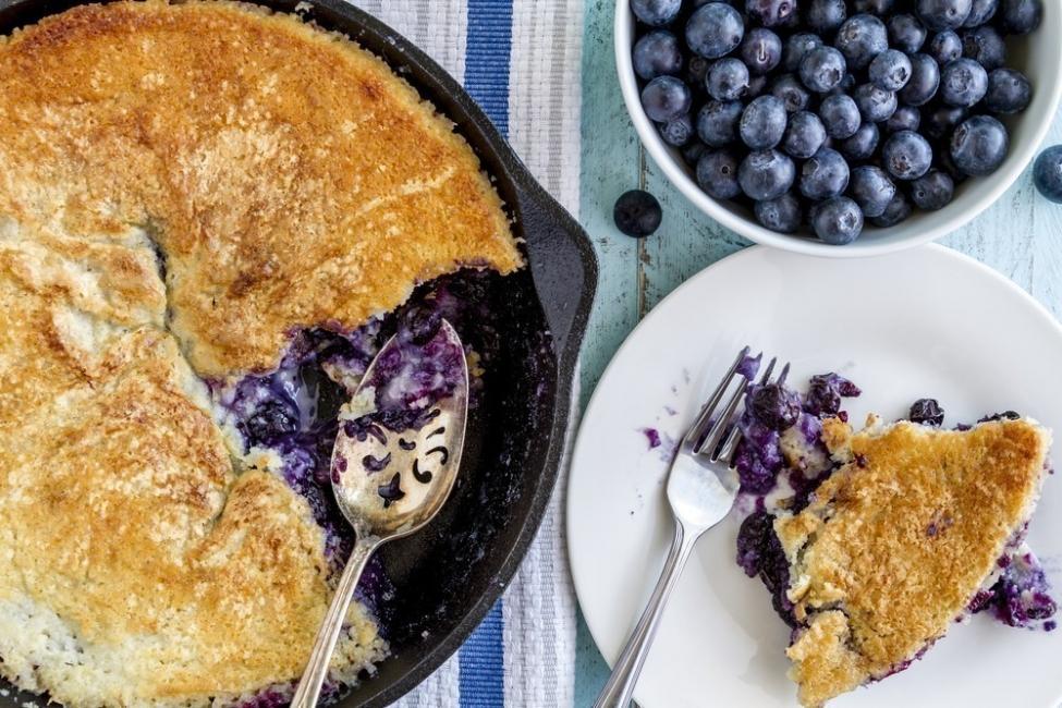 Torta de arándanos y limón, ¡a la sartén!