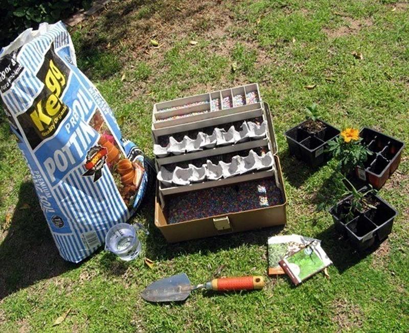 jardín en caja de herramientas - materiales