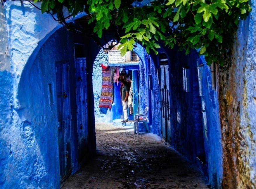 pueblo de casas azules