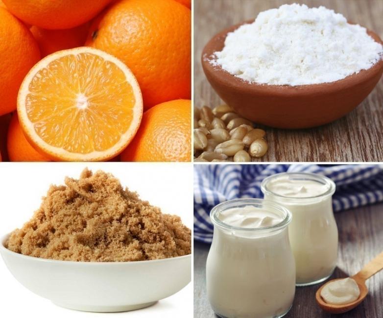 Postre saludable de yogur griego con crema de naranja - ingredientes