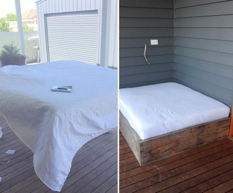Cómo hacer una cama para tu jardín - cubrir el colchón con guata