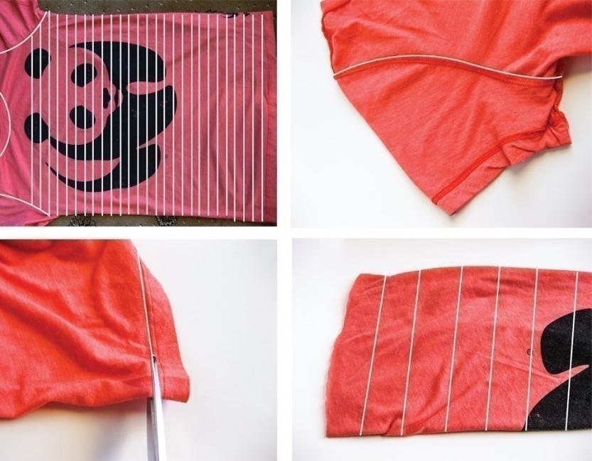 Ideas para hacer con una vieja remera - bufanda paso a paso