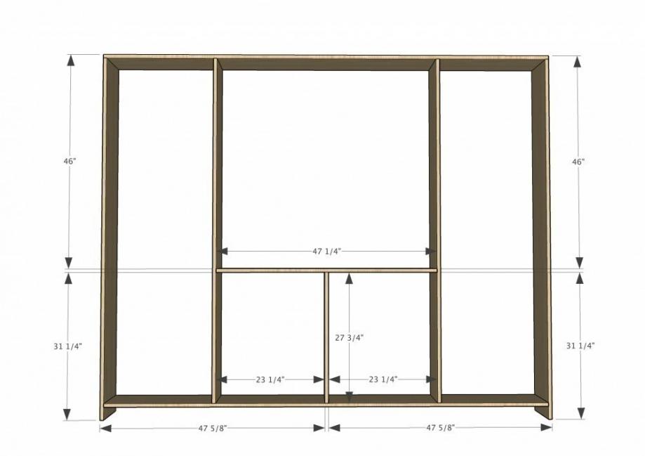 Mueble-estantería multifuncional con puertas corredizas - dimensiones