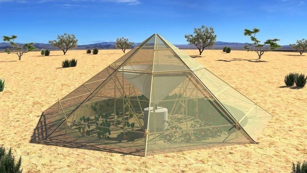 invernadero que hace crecer plantas en el desierto- modelo