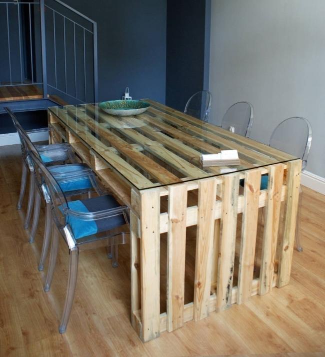 hacer una mesa para el comedor con pallets - terminada