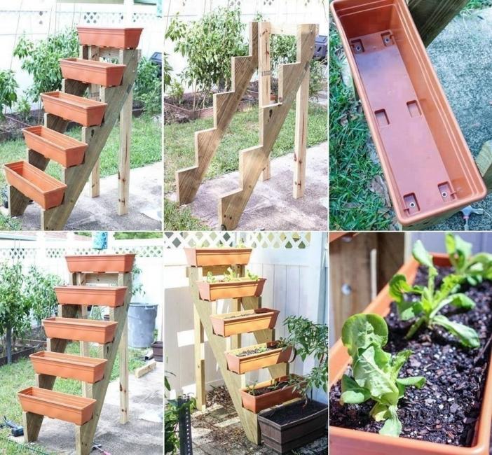 jardín vertical escalera- huerta escalonada