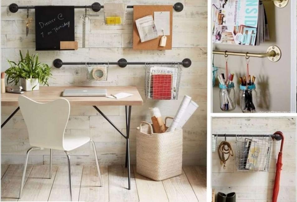 Decoración con caños  - organizador para el escritorio
