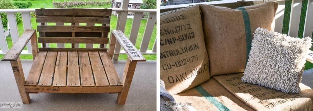 sillón de pallet y arpillera- procedimiento