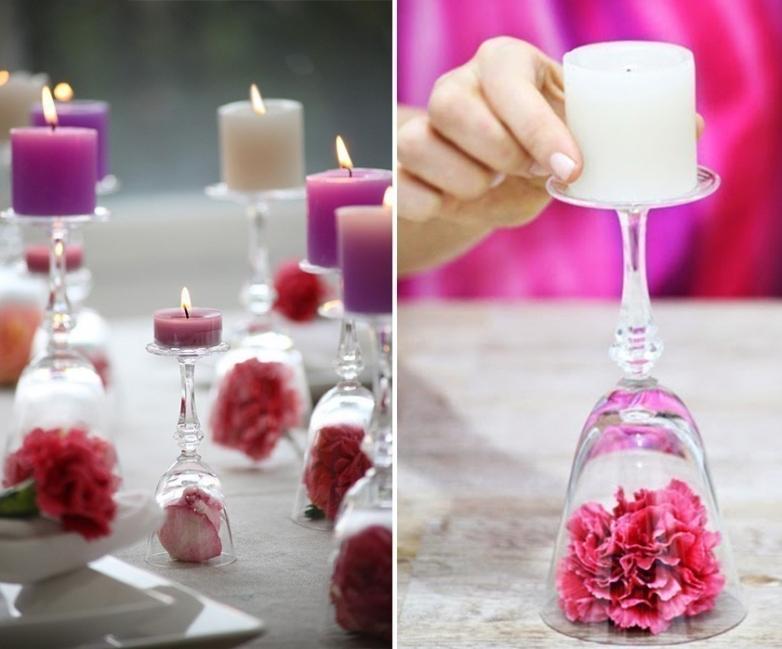 Ideas para decorar tus velas navideñas - velas con copas invertidas