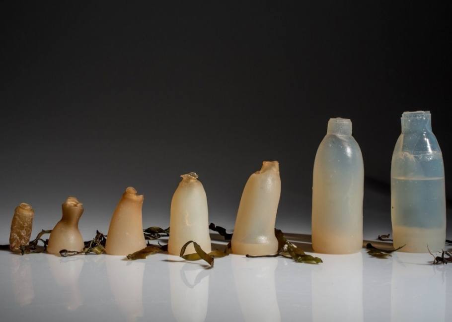 botella biodegradable a base de algas