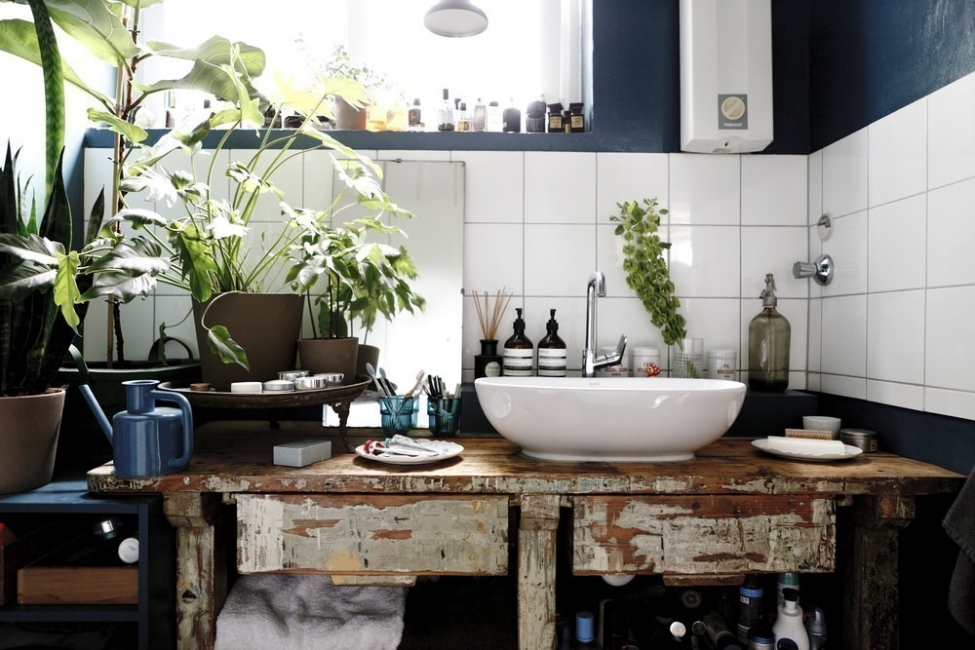 Ideas para decorar con plantas - baño