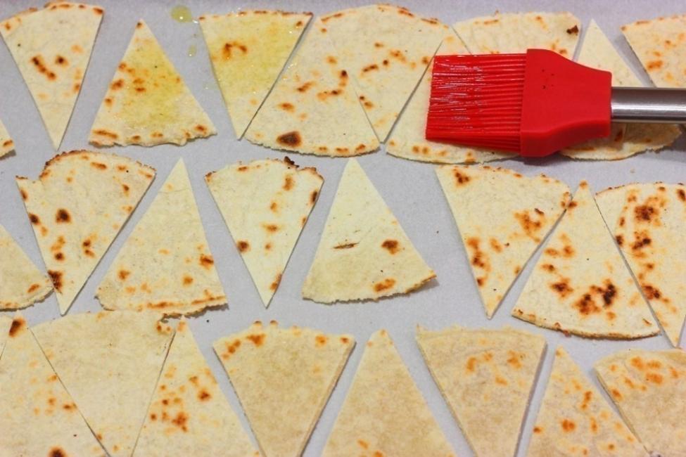harina de maíz- pintar- horno- nachos