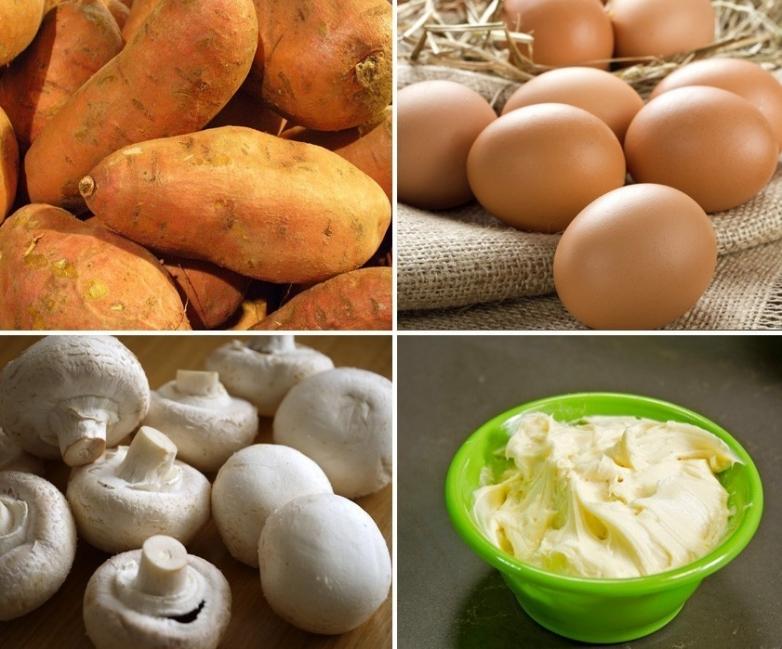 Camotes rellenos de hongos y vegetales - ingredientes