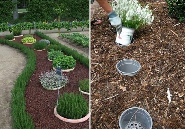 trucos de jardinería- macetas escondidas