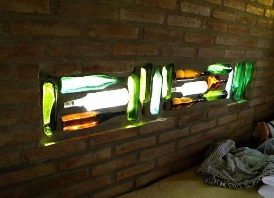ventana con botellas de vidrio - terminada