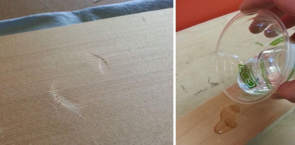 quitar abolladuras de la madera - verter agua