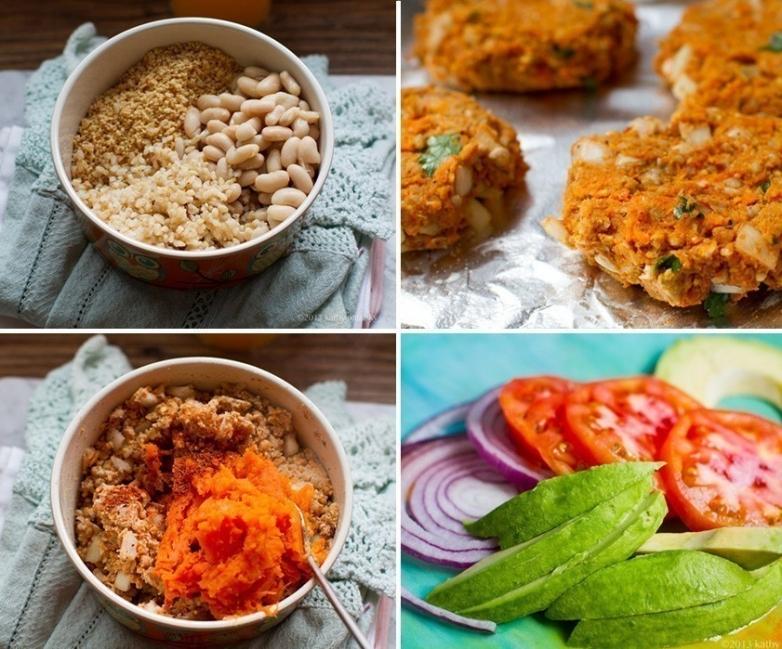 hamburguesas vegetarianas con arroz integral - preparación
