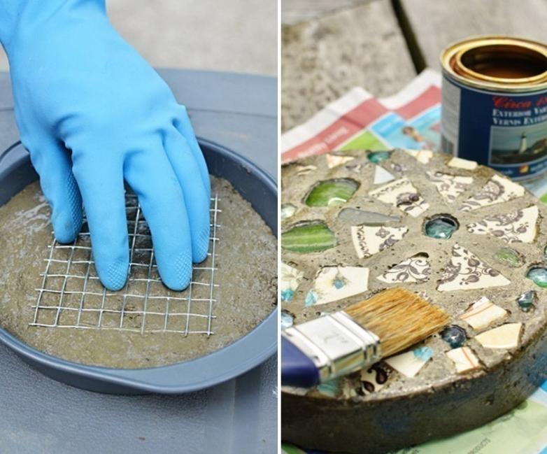 baldosas de mosaicos para tu jardín- barnizar