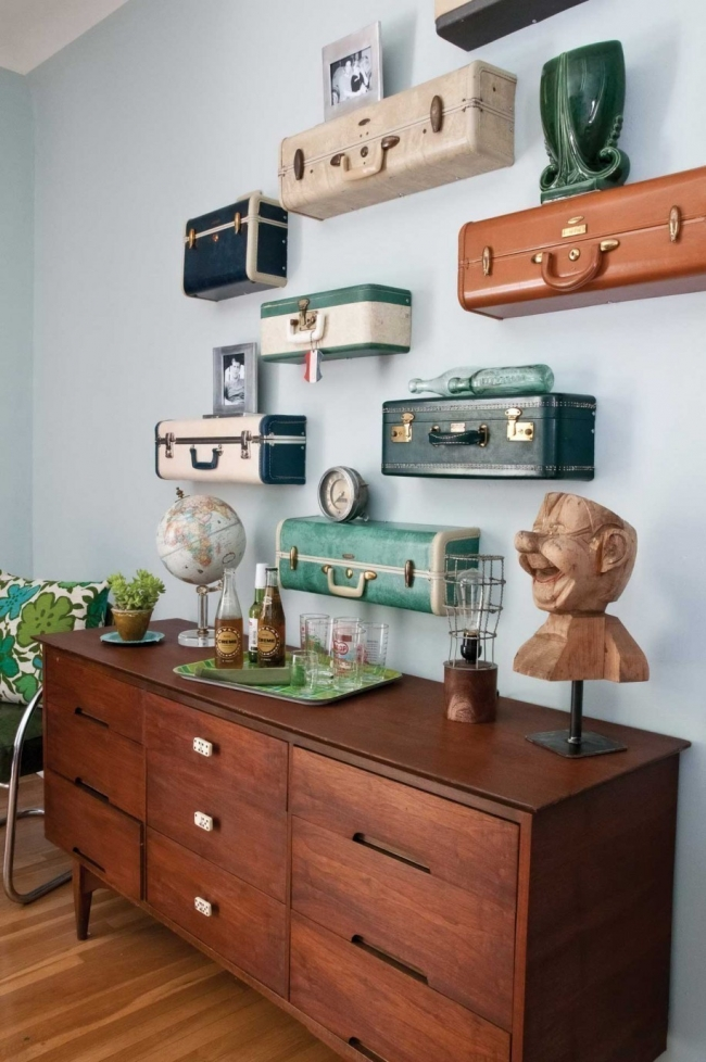 decoración con maletas - estantes/cajón