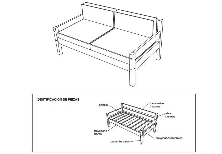 sillon de dos cuerois - esquema- construir- planos