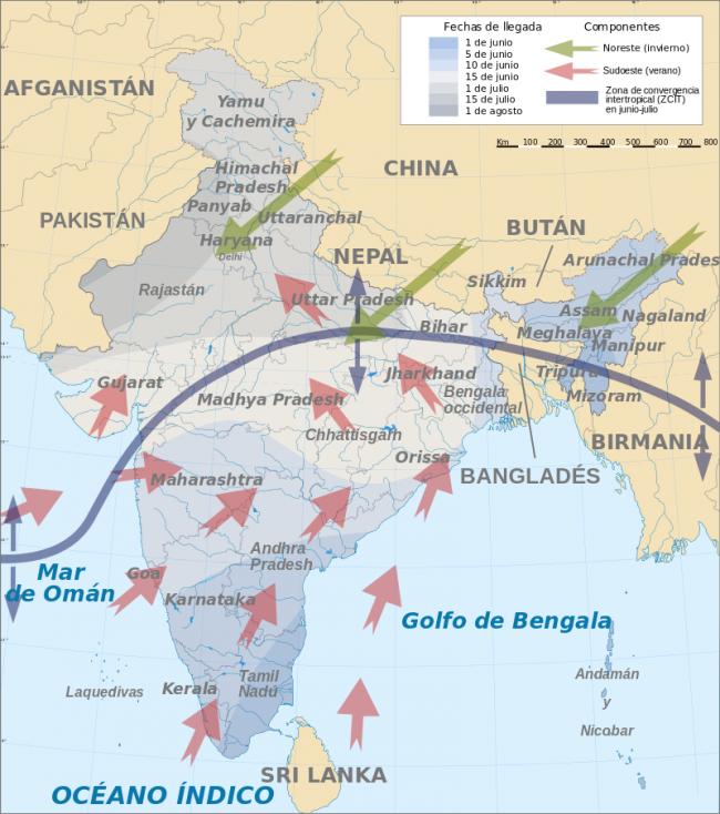 Corrientes monzónicas que causan las lluvias en el sudeste de Asia